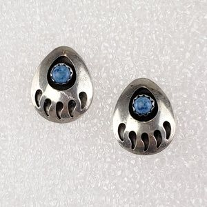 Jewelry - Sterling Silver Earrings Lapis Lazuli Bear Paw